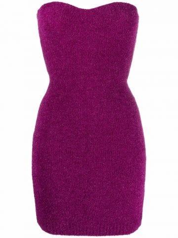 Purple sweetheart-neck knit dress