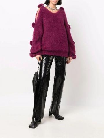 Purple oversized sweater with pompom