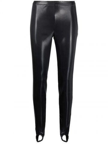 Black faux leather stirrup leggings