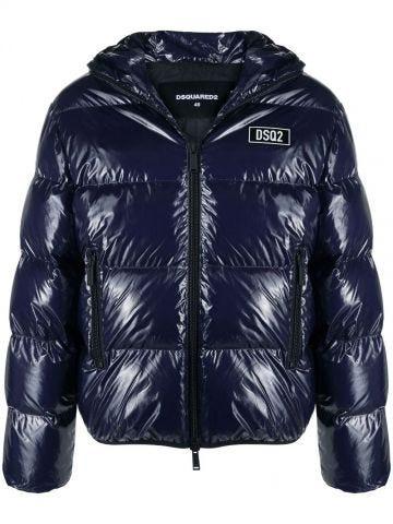 Shiny down jacket with logo