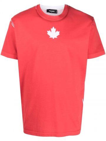 Red logo-printed T-shirt