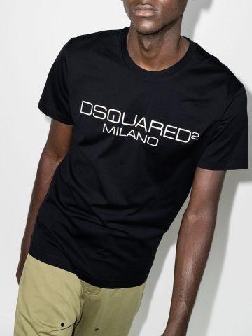 Black T-shirt with logo print
