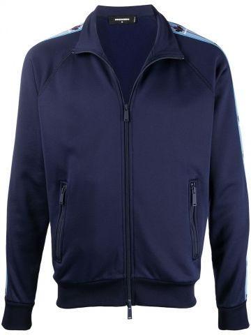 Blue retro Tape zip-up track jacket