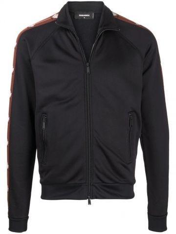 Black logo zipped bomber jacket