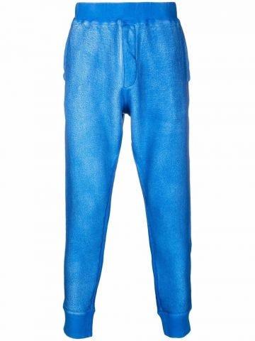 Blue rear logo print trousers
