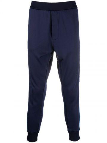 Blue tapered-leg logo band trackpants