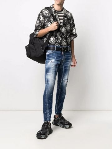Blue mid-rise distressed straight-leg jeans