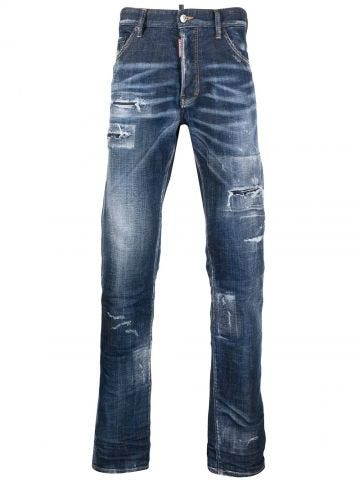 Blue distressed bootcut jeans