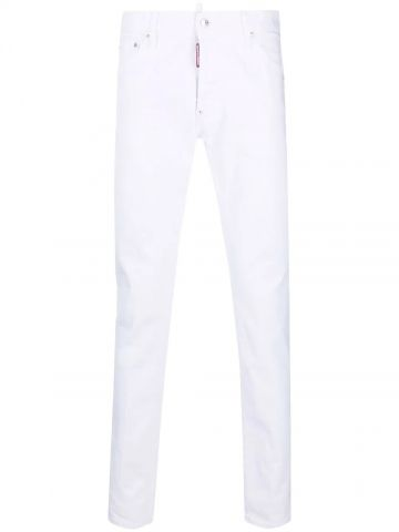 White logo patch jeans