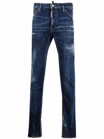 Blue mid-rise slim-fit jeans