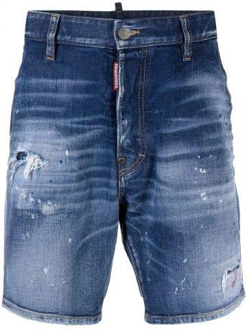 Blue knee-length denim shorts