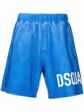 Blue logo-print track shorts