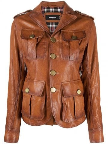 Brown jacket with patch pockets