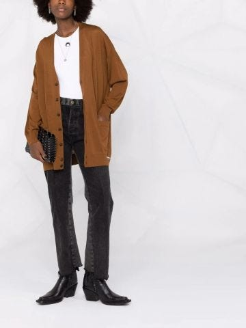 Brown cardigan with logo