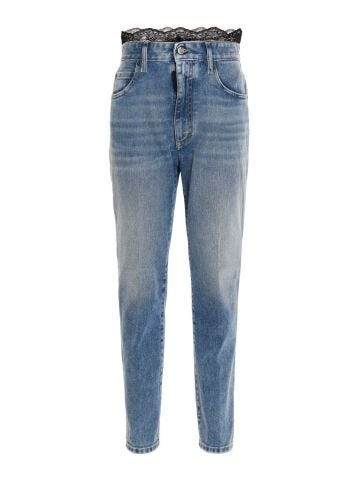 Jeans with lace insert