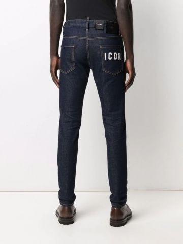 Blue Icon print skinny-cut jeans