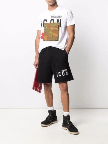 Black logo-print track shorts