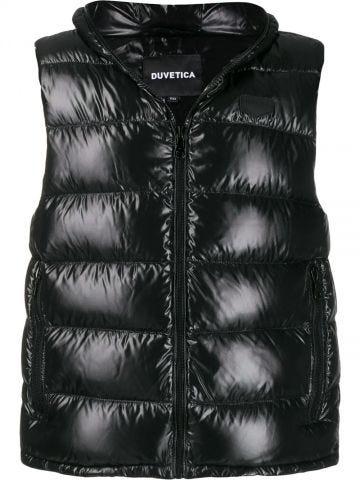 Black hooded vest
