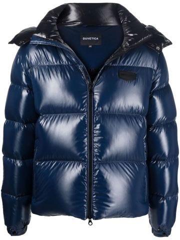 Blue zipper down jacket