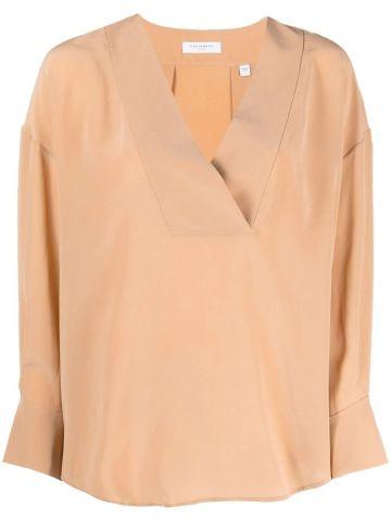 Beige Natalinne V-neck blouse
