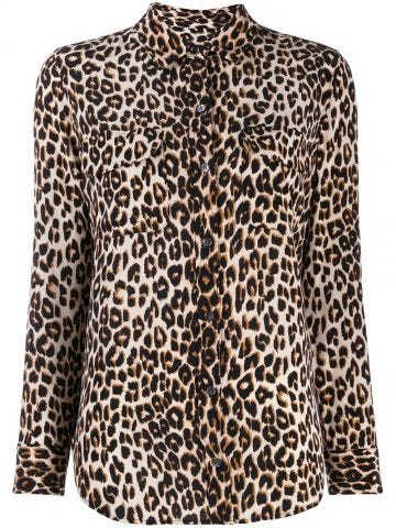 Leopard print slim signature silk shirt
