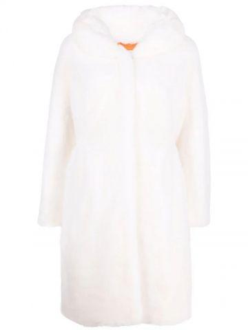 White faux single-breasted fur coat