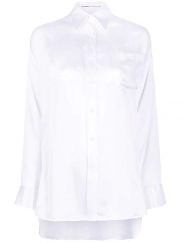 White silk chest patch pocket shirt