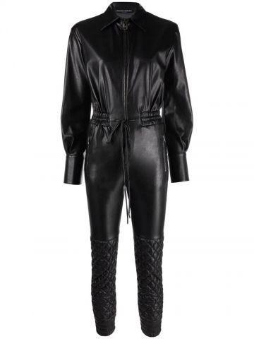 Black faux-leather quilted jumpsuit