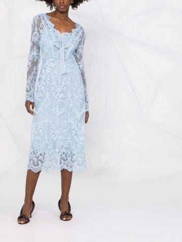 Blue lace embroidered midi dress