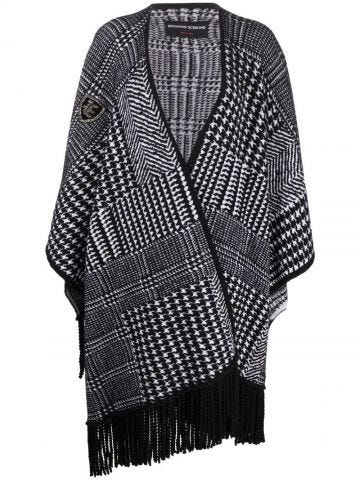 Black and white fringed-edge houndstooth-knit poncho