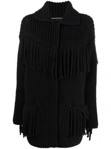 Black tassel-knit cardigan