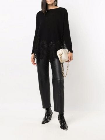 Black silk-cashmere blend lace-trim knitted sweater