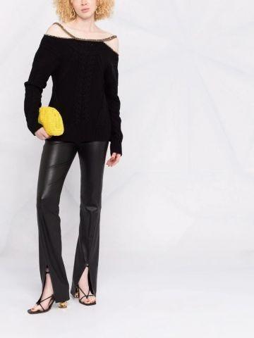 Black embellished-strap knitted top