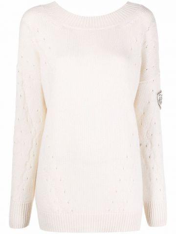 White openwork jumper with wide neckline