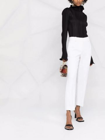 White straight tailored pants