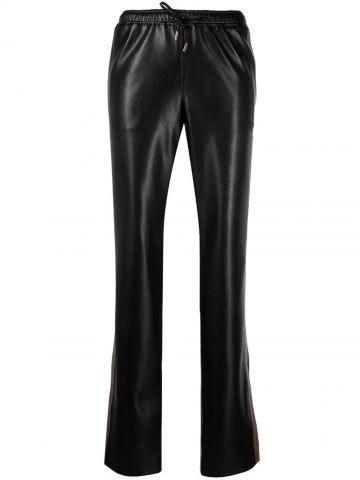 Pantaloni di pelle nera con banda laterale