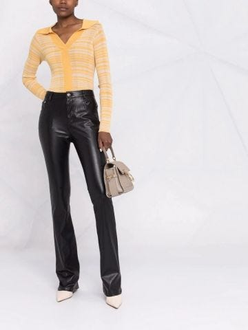 Black straight-leg faux leather trousers