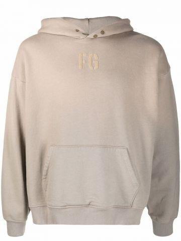 Beige logo hoodie