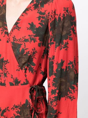 Red blouse with abstract print