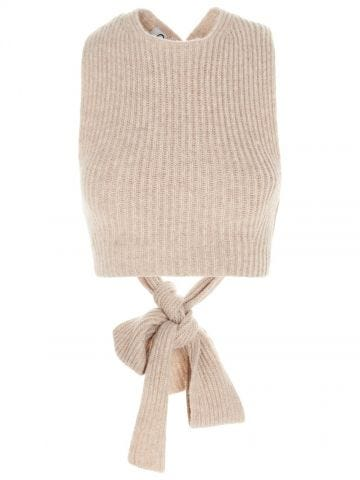 Short beige knit top with lace ties on the back