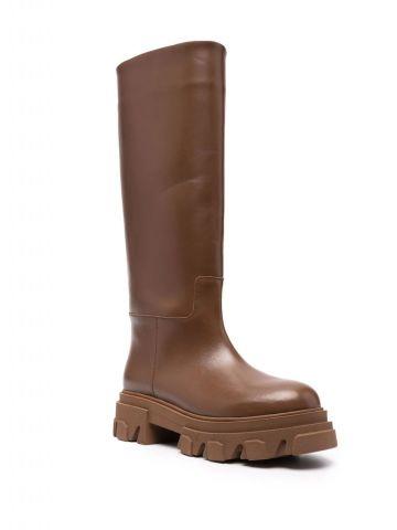 Brown Perni 07 tubular combat boots
