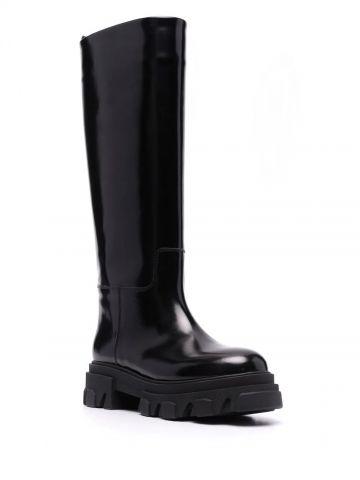 Shiny black leather Perni 07 tubular combat boots