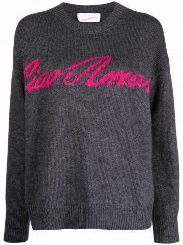 Grey Ciao Amore crew neck jumper