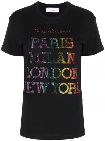 Black Ciao Amore T-shirt with rhinestone inscription
