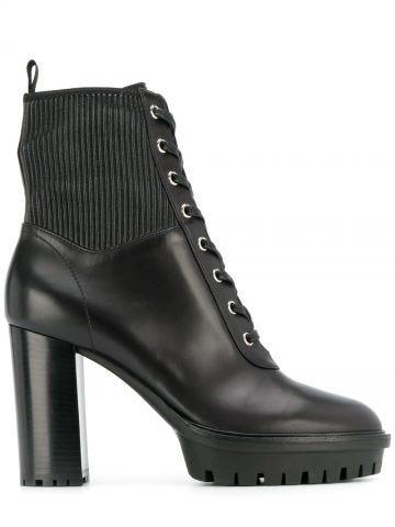 Black Martis lace-up platform boots