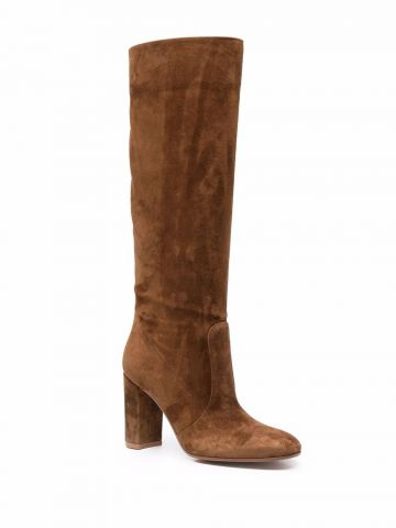 Brown suede Glen knee-length panelled boots