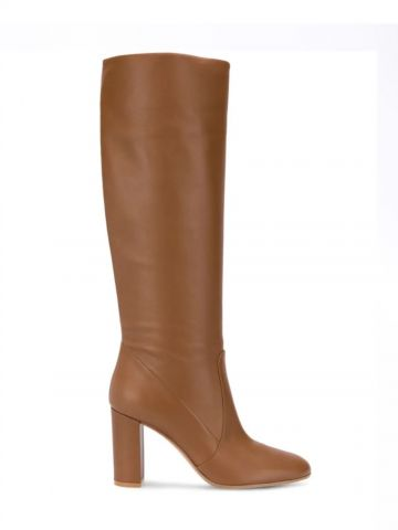 Brown leather Glen knee-length panelled boots