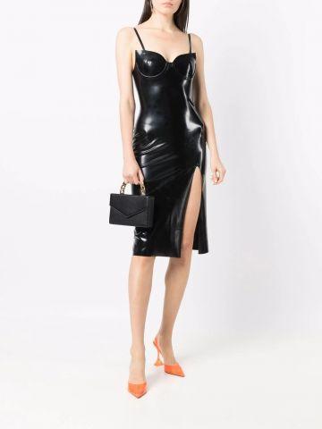 Black sweetheart-neck faux-leather midi dress