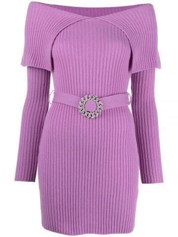 Purple ribbed off-shoulder dress