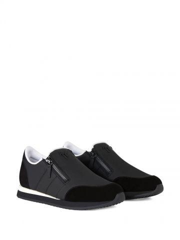 Sneakers Jimi Zip in pelle gommata nera
